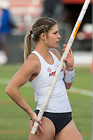 NWA Democrat-Gazette/BEN GOFF @NWABENGOFF<br /> Victoria Hoggard of Arkansas lines up an attempt Friday, April 12, 2019, during the women's pole vault at the John McDonnell Invitational at John McDonnell field in Fayetteville.