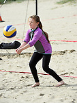 Cara Malone in action at the launch of the volleyball competitions on Bettystown beach. Photo:Colin Bell/pressphotos.ie