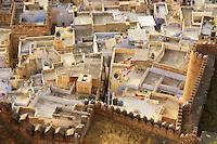 view on Jodhpur with walls of Fort Mehrangarh, Rajastan, India