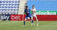 Wigan Athletic's Kieffer Moore shields the ball from Leeds United's Ben White<br /> <br /> Photographer Stephen White/CameraSport<br /> <br /> The EFL Sky Bet Championship - Wigan Athletic v Leeds United - Saturday 17th August 2019 - DW Stadium - Wigan<br /> <br /> World Copyright © 2019 CameraSport. All rights reserved. 43 Linden Ave. Countesthorpe. Leicester. England. LE8 5PG - Tel: +44 (0) 116 277 4147 - admin@camerasport.com - www.camerasport.com