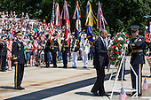 United States President Barack Obama lays a wreath at the Tomb of the Unknown Soldier at Arlington National Cemetery, May 26, 2014 in Arlington, Virginia. President Obama returned to Washington Monday morning after a surprise visit to Afghanistan to visit U.S. troops at Bagram Air Field. <br /> Credit: Drew Angerer / Pool via CNP