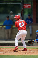 GCL Phillies East designated hitter Jack Conley (23) at bat during a game against the GCL Blue Jays on August 10, 2018 at Carpenter Complex in Clearwater, Florida.  GCL Blue Jays defeated GCL Phillies East 8-3.  (Mike Janes/Four Seam Images)