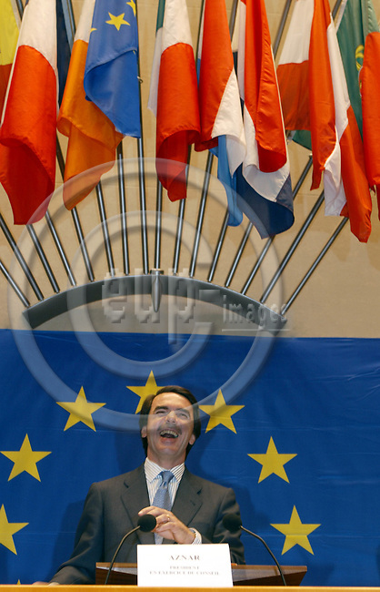 BRUSSELS, BELGIUM / 28 February 2002--The opening of the Convention on the future of the European Union in the EU-Parliament..The Prime Minister of Spain Jose Maria Aznar opened the Connvention..PHOTO: JUHA ROININEN