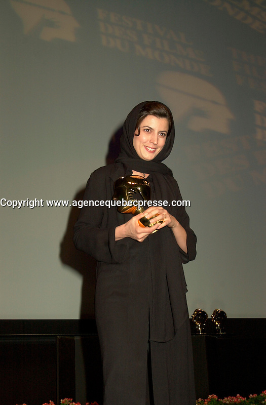 Sept 2, 2002, Montreal, Quebec, Canada<br /> <br /> Leila Hatami (L)  receive the <br /> Best Actress award ,at the closing ceremony of the 2002 Montreal World Films Festival, Sept 2 2002,<br />  in  Montreal, Quebec, Canada<br /> <br /> <br /> Mandatory Credit: Photo by Pierre Roussel- Images Distribution. (&copy;) Copyright 2002 by Pierre Roussel <br /> <br /> NOTE : <br />  Nikon D-1 jpeg opened with Qimage icc profile, saved in Adobe 1998 RGB<br /> .Uncompressed  Uncropped  Original  size  file availble on request.