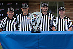 Orange, CA 05/16/15 - The 2015 MCLA Division I Championship final referee crew pose with the championship trophy at Chapman University in Orange, California.