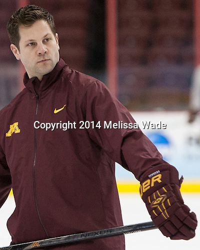 Justin Johnson (MN - Volunteer Assistant Coach) - The University of Minnesota Golden Gophers practiced on Wednesday, April 9, 2014, at the Wells Fargo Center in Philadelphia, Pennsylvania during the 2014 Frozen Four.