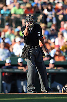 Umpire Chad Fairchild during a Spring Training game between the Atlanta Braves and Baltimore Orioles on April 3, 2015 at Ed Smith Stadium in Sarasota, Florida.  Baltimore defeated Atlanta 3-2.  (Mike Janes/Four Seam Images)
