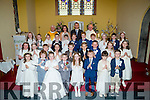 Pupils of Spa NS who made their First Holy Communion on Saturday in The church of the Purification Churchill, on Saturday with the  pupils were, Fr Eamon Mulvihill, Fr Joe Dineen,Peter Lenihan (principal) and Nora Buckley (Class teacher).,