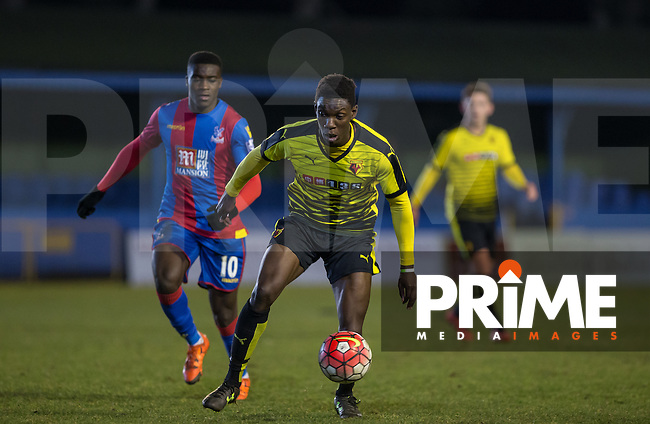 Bernard Mensah of Watford controls the ball during the U21 Professional Development League match between Watford U21 and Crystal Palace U21 at Clarence Park, St Albans, England on 14 March 2016. (Watford 0 Crystal Palace 5). Photo by Andy Rowland.