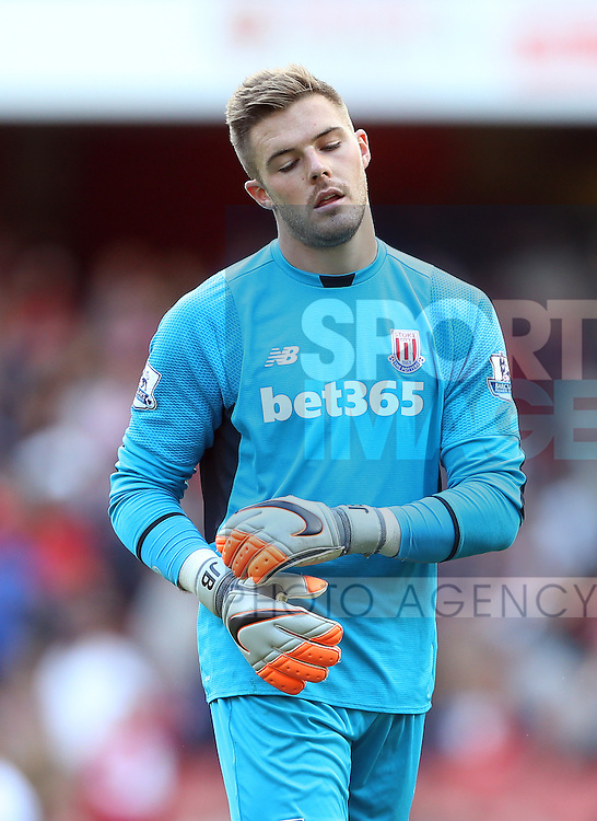 Stoke's Jack Butland looks on dejected at the final whistle<br /> <br /> Barclays Premier League- Arsenal vs Stoke City - Emirates Stadium - England - 12th September 2015 - Picture David Klein/Sportimage