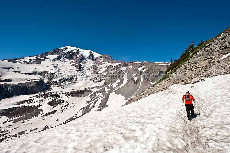9/14/2011--Mt. Rainier, WA, USA...Climber Chad Kellogg, 39, training on Mt. Rainier, WASH., for the world speed record climb on Mt. Everest that he will attempt in May, 2012. Kellogg climbs solo and without oxygen...A former competitive luger, Kellogg is a Buddhist who wakes everyday at 4 a.m. to meditate before heading out for training and work. A few years ago, Kellogg had part of his colon removed because of cancer and also lost his first wife to a climbing accident..©2011 Stuart Isett. All rights reserved.