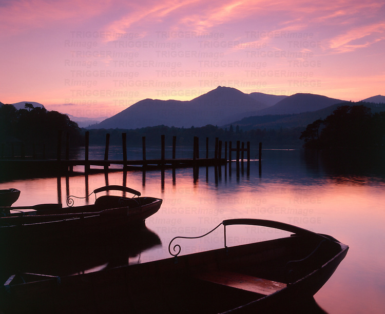 Sunset at Keswick launch, Derwent Water, Keswick, Lake District. Cumbria