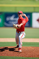 Philadelphia Phillies pitcher Austin Ross (16) delivers a pitch during a Florida Instructional League game against the New York Yankees on October 12, 2018 at Spectrum Field in Clearwater, Florida.  (Mike Janes/Four Seam Images)
