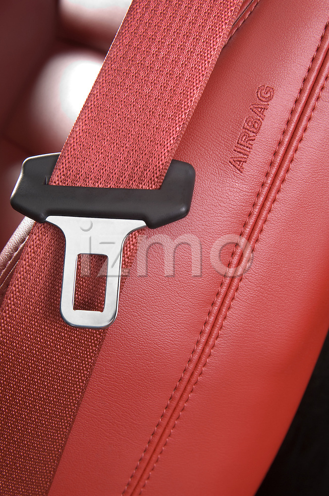 Close up view of a Chevrolet Corvette Z06 safety seat belt