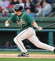 April 19, 2009: Infielder Daniel Pertusati (12) of the Greensboro Grasshoppers, Class A affiliate of the Florida Marlins, in a game against the Greenville Drive at Fluor Field at the West End in Greenville, S.C. Photo by: Tom Priddy/Four Seam Images