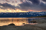 Idaho, West Central, Cascade. Lake Cascade at sunset in Spring.
