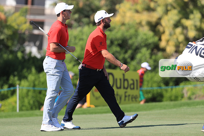 Rory McIlroy (NIR), and, Andy Sullivan (ENG) on the 12th tee during round 2 of the DP World Tour Championship, Jumeirah Golf Estates, Dubai, United Arab Emirates. 18/11/2016<br /> Picture: Golffile | Fran Caffrey<br /> <br /> <br /> All photo usage must carry mandatory copyright credit (&copy; Golffile | Fran Caffrey)