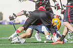 Santa Barbara, CA 04/16/16 - Simon Jenkin (Chapman #21) and Zac Cherin (UCSB #2) in action during the final regular MCLA SLC season game between Chapman and UC Santa Barbara.  Chapman defeated UCSB 15-8.