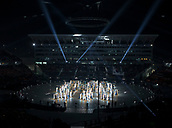 9th February 2018, Pyeongchang, South Korea; 2018 Winter Olympic Games; PyeongChang Olympic Stadium; Dancers with light squares performing during the Opening Ceremony