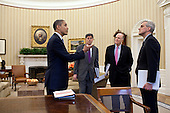 United States President Barack Obama talks with Chief of Staff Jack Lew, National Security Advisor Tom Donilon, and Deputy National Security Advisor Denis McDonough in the Oval Office, March 16, 2012. .Mandatory Credit: Pete Souza - White House via CNP