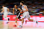 Real Madrid's Sergio Llull and Brose Bamberg's Maodo Lo during Turkish Airlines Euroleague between Real Madrid and Brose Bamberg at Wizink Center in Madrid, Spain. December 20, 2016. (ALTERPHOTOS/BorjaB.Hojas)