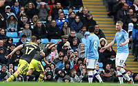 2nd November 2019; Etihad Stadium, Manchester, Lancashire, England; English Premier League Football, Manchester City versus Southampton; James Ward-Prowse of Southampton celebrates after beating Manchester City goalkeeper Ederson to score the opening goal after 13 minutes - Strictly Editorial Use Only. No use with unauthorized audio, video, data, fixture lists, club/league logos or 'live' services. Online in-match use limited to 120 images, no video emulation. No use in betting, games or single club/league/player publications