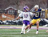 University at Albany Men's Lacrosse defeats Drexel 18-5 on Feb. 24 at Casey Stadium.  Jakob Patterson (#17). (Photo by Bruce Dudek / Cal Sport Media/Eclipse Sportswire)