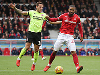 Sheffield United's Billy Sharp and Nottingham Forest's Lewis Grabban<br /> <br /> Photographer Rachel Holborn/CameraSport<br /> <br /> The EFL Sky Bet Championship - Nottingham Forest v Sheffield United - Saturday 3rd November 2018 - The City Ground - Nottingham<br /> <br /> World Copyright &copy; 2018 CameraSport. All rights reserved. 43 Linden Ave. Countesthorpe. Leicester. England. LE8 5PG - Tel: +44 (0) 116 277 4147 - admin@camerasport.com - www.camerasport.com