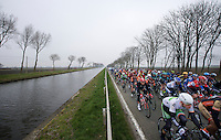 peloton racing next to the canal<br /> <br /> Handzame Classic 2015
