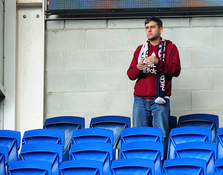 A Bolton Wanderers fan before todays match<br /> <br /> Photographer Kevin Barnes/CameraSport<br /> <br /> Football - The Football League Sky Bet Championship - Cardiff City v Bolton Wanderers - Saturday 23rd April 2016 - Cardiff City Stadium - Cardiff <br /> <br /> &copy; CameraSport - 43 Linden Ave. Countesthorpe. Leicester. England. LE8 5PG - Tel: +44 (0) 116 277 4147 - admin@camerasport.com - www.camerasport.com