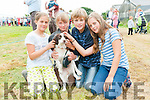 Isabel Holden, Ellie Power (Dun Sheann), Caitlin and Michael Holden (Kinard), with Fudge at the West Kerry Agricultural Show in Dingle on Sunday afternoon.