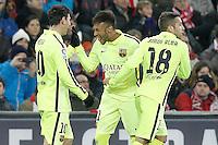 FC Barcelona's Leo Messi, Neymar Santos Jr and Jordi Alba celebrate goal during La Liga match.February 8,2015. (ALTERPHOTOS/Acero) /NORTEphoto.com