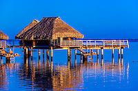 Overwater bungalows, Hilton Moorea Lagoon Resort, island of Moorea, French Polynesia.