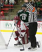 Brett Patterson (Dartmouth - 13), Jimmy Vesey (Harvard - 19) - The Harvard University Crimson tied the visiting Dartmouth College Big Green 3-3 in both team's first game of the season on Saturday, November 1, 2014, at Bright-Landry Hockey Center in Cambridge, Massachusets.