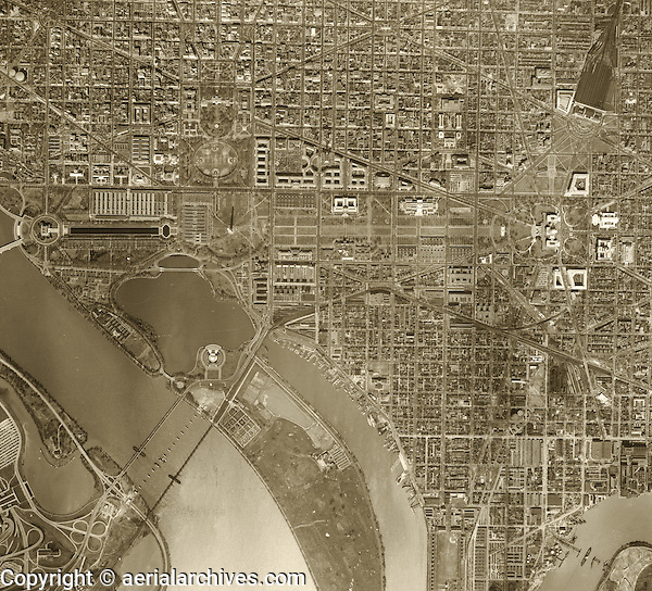 historical aerial photograph of Washington, DC, 1949