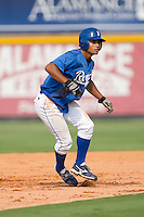 Derek Rodriguez #4 of the Burlington Royals takes his lead off of second base versus the Pulaski Mariners at Burlington Athletic Park August 4, 2009 in Burlington, North Carolina. (Photo by Brian Westerholt / Four Seam Images)