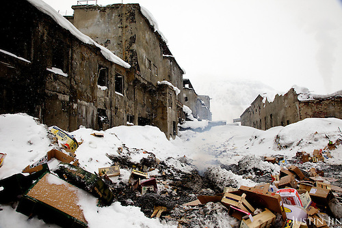 An abandoned factory in Kirovsk city in Murmansk Province. Since the collapse of the Soviet Union, many heavy industries were abandoned in the Arctic territory as it no longer makes economic and strategic sense to support these industrial communities in the extreme climate and isolation.