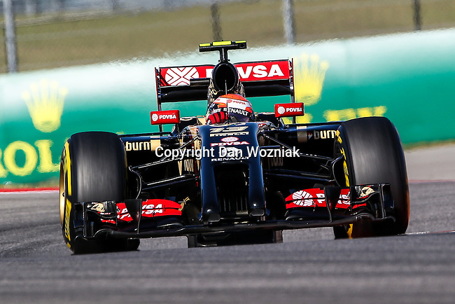 PASTOR MALDONADO (13) driver of the Lotus F1 Team car in action during the last practice before the Formula 1 United States Grand Prix race at the Circuit of the Americas race track in Austin,Texas.