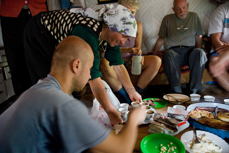 In Lukomir, the hiking group has lunch with a local family, which has prepared pita -- a baked dish of dough stuffed with potatoes or cheese -- sour cow's milk, and coffee.