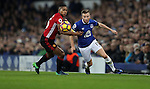 Tom Cleverley of Everton and Antonio Valencia of Manchester United during the Premier League match at Goodison Park, Liverpool. Picture date: December 4th, 2016.Photo credit should read: Lynne Cameron/Sportimage