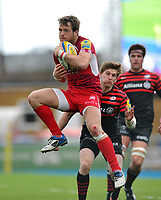 Seb Jewell claims the ball in the air. Aviva Premiership match, between Saracens and London Welsh on March 3, 2013 at Allianz Park in London, England. Photo by: Patrick Khachfe / Onside Images