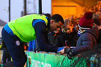 Rochdale's Joe Thompson signs autographs for fans during the Sky Bet League 1 match between Rochdale and Walsall at Spotland Stadium, Rochdale, England on 23 December 2017. Photo by Juel Miah / PRiME Media Images.