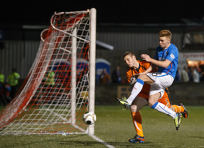Lewis Macleod and keeper Chris Smith
