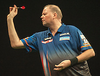 09.04.2015. Sheffield, England. Betway Premier League Darts. Matchday 10.  Raymond van Barneveld [NED] in action during his game with Phil Taylor [ENG]