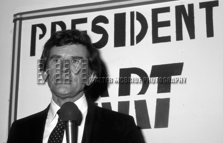 Gary Hart attends aGary Hart Campaign Rally on April 1, 1983 in Washington, D.C..