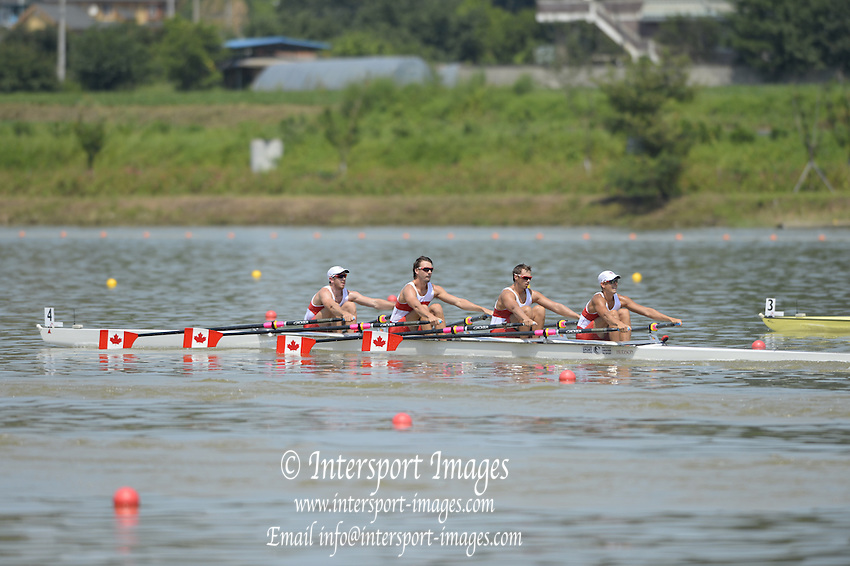 Chungju, South Korea.  Side view of the start of the Men's Quadruple Sculls  , CAN M4X,  moving away from the start of their heat.  2013 World Rowing Championships, Tangeum Lake, International Regatta Course.  Sunday  25/08/2013 [Mandatory Credit. Peter Spurrier/Intersport Images]