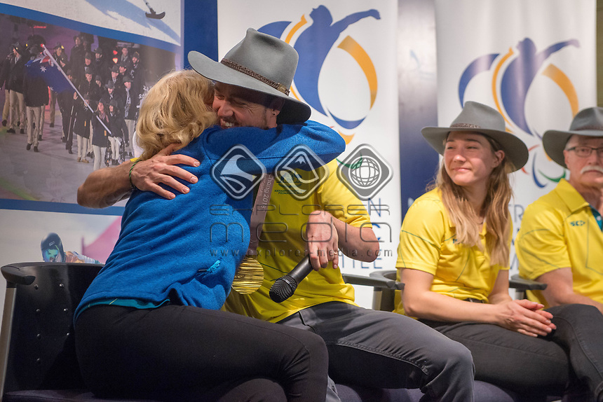 Welcome home / Press Conference / Simon Patmore and CEO Lynne Anderson<br /> PyeongChang 2018 Paralympic Games<br /> Australian Paralympic Committee<br /> Sydney International Airport<br /> PyeongChang South Korea<br /> Tuesday March 20th 2018<br /> © Sport the library / Jeff Crow