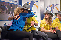 Welcome home / Press Conference / Simon Patmore and CEO Lynne Anderson<br /> PyeongChang 2018 Paralympic Games<br /> Australian Paralympic Committee<br /> Sydney International Airport<br /> PyeongChang South Korea<br /> Tuesday March 20th 2018<br /> &copy; Sport the library / Jeff Crow