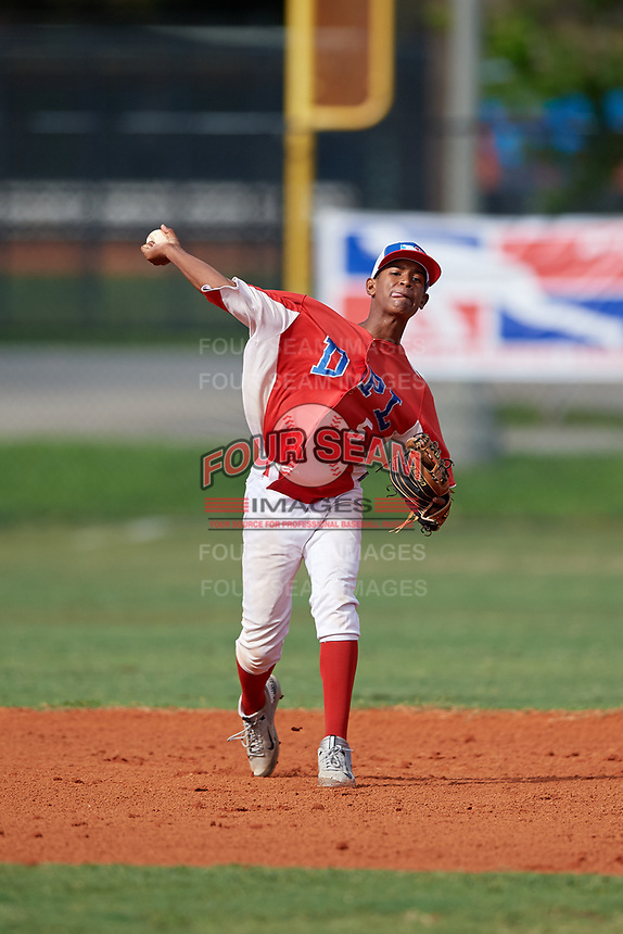 Derniche Valdez (5) during the Dominican Prospect League Elite Florida Event at Pompano Beach Baseball Park on October 15, 2019 in Pompano beach, Florida.  (Mike Janes/Four Seam Images)
