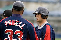 June 1, 2008: Tacoma Rainiers' Jeff Clement talks with first base coach Alonzo Powell during a Pacific Coast League game against the Salt Lake Bees at Cheney Stadium in Tacoma, Washington.